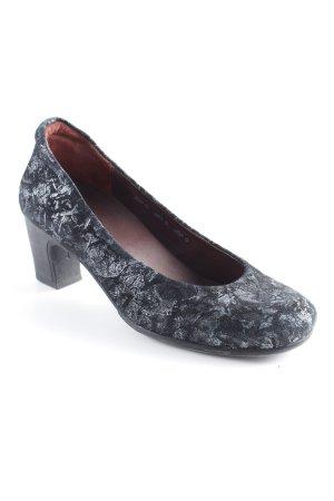 Think! Loafers zwart-zilver bloemen patroon zakelijke stijl