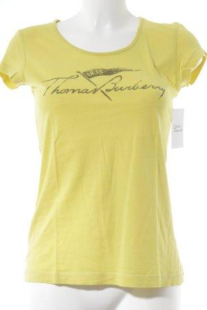 Thomas Burberry T-Shirt gelb-schwarz Schriftzug gedruckt Street-Fashion-Look