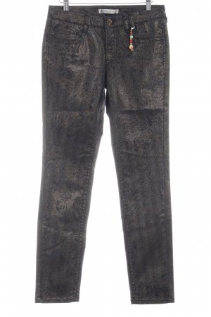 Thomas Rath Pantalone cinque tasche nero-oro motivo astratto stile stravagante