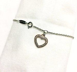 THOMAS SABO 925er Echtsilber-Armband mit rosévergoldetem Herzanhänger & Diamanten