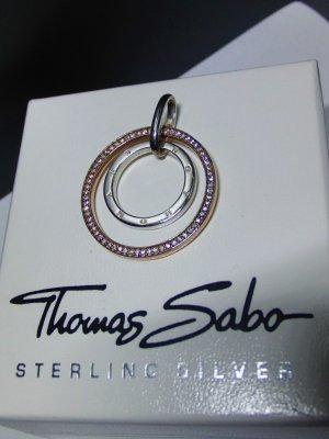 """Thomas Sabo"" Anhänger ""Kreise"", Sterlingsilber, Roségold-vergoldet, mit weißen Zirkonia"
