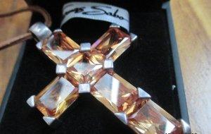 Thomas Sabo Anhänger Kreuz apricot Steine Silber
