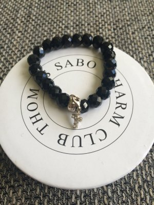 Thomas Sabo Armband schwarz mit Kreuz Anhänger