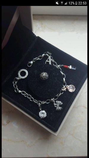 Thomas sabo Armband Silber rosegold Charms Stein Schleife rosa Lippenstift Buchstabe A und Kugel