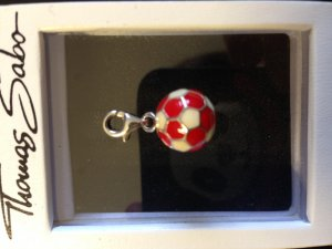 Thomas Sabo Charm brick red-white real silver