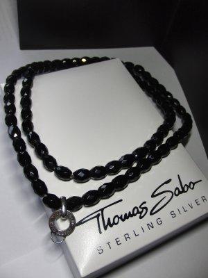 """""""Thomas Sabo"""" Charm Club Kette mit schwarzen Obsidian und einem integrierten Carrier/Träger aus 925er Sterlingsilber, ca. 90 cm lang"""