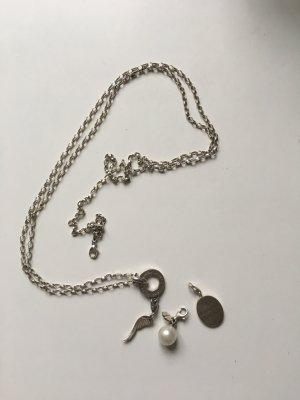 Thomas Sabo Kette lang aus 925 Silber mit Carrier groß und drei Charms