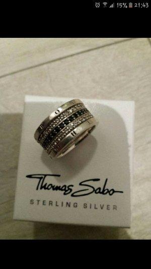 Thomas Sabo Anello d'argento nero-argento