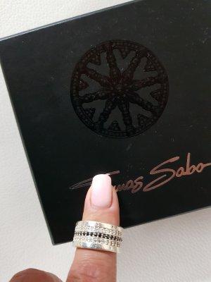 Thomas Sabo Anello nero-argento