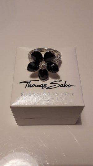 Thomas Sabo Ring Größe 52 Blume schwarz Original
