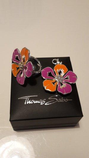 Thomas Sabo Set Ring Gr. 52 und Großer Anhänger Blume Bunt