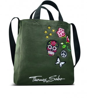 Thomas Sabo Canvas Bag dark green cotton