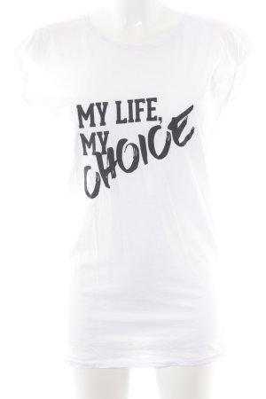 Thomas Sabo T-shirt bianco-nero caratteri stampati stile casual