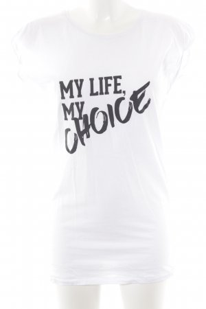 Thomas Sabo T-shirt wit-zwart gedrukte letters casual uitstraling