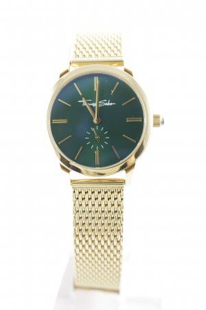 Thomas Sabo Horloge met metalen riempje goud-groen casual uitstraling