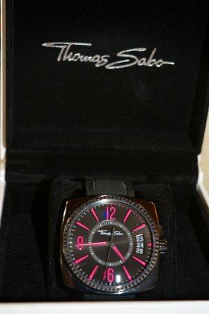 Thomas Sabo Uhr - schwarz mit pinken Ziffern