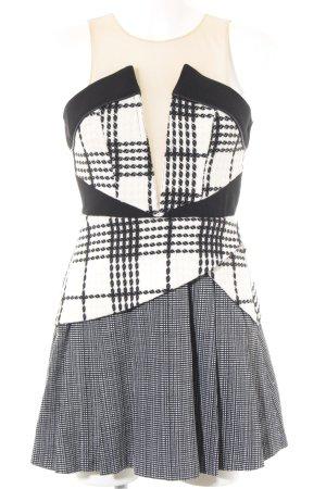 Three Floor A-Linien Kleid weiß-schwarz Karomuster