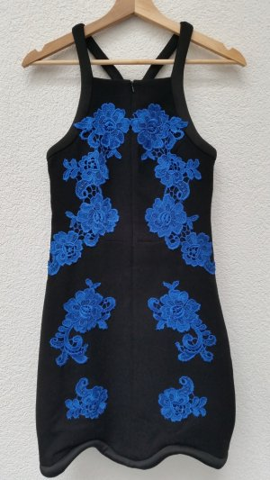 Three Floor Fashion Minikleid schwarz blaue Spitzenapplikationen