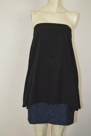 Tibi Bandeau Kleid Gr. XS Schwarz Blau Zweilagig Florales Design, wie neu, hoher NP