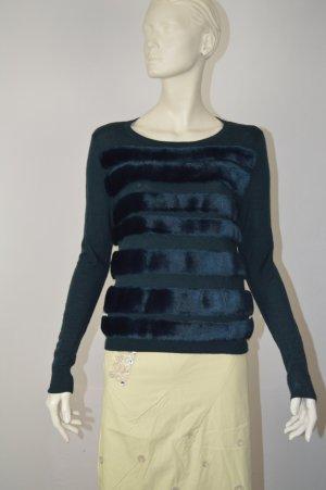 Tibi Faux Fur Pullover Grün S/M Dunkelgrün Merinowolle Wolle
