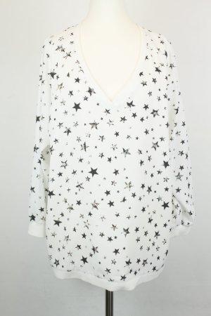 Tibi NYC Bluse Gr. M weiß schwarz Sternchen oversized