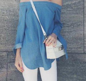 TIBI Off-Shoulder Bluse Schulterfreie Bluse von Tibi in hellblau Denim