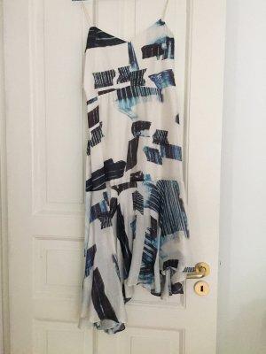 """Tibi """"Oki"""" Cocktailkleid Kleid Seidenkleid asymmetrisch weiss blau Rueschen"""