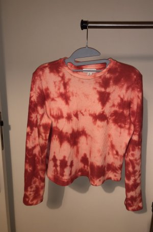 Tie dye cropped waffle top TOPSHOP