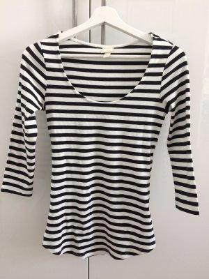 H&M Gestreept shirt wit-zwart Katoen