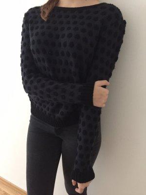 Tief blauer Pullover/ pulli mit schwarzen Dots / Punkten
