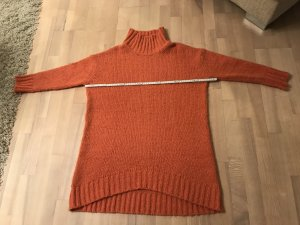 Pull long orange tissu mixte