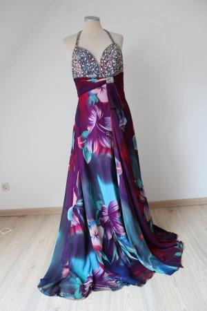 Tiffany & Co. Abendkleid Neckholderkleid Ballkleid neu Gr. UK 10 EUR 38 40 S M Blumen Pailletten