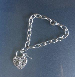 Tiffany & Co. Filigree Heart Armband mit Herzanhänger, 925 Silber