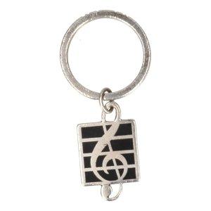 Tiffany & Co. Schlüsselanhänger Anhänger aus 925 Sterlingsilber Farbe Schwarz und Silber Motiv Notenschlüssel