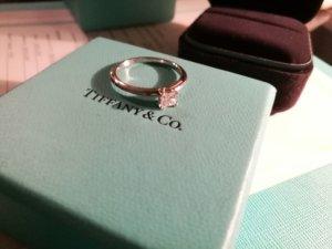 Tiffany&Co Verlobungsring Prinzesscut, Platin950 mit Box und Zertifikat, Gr-54