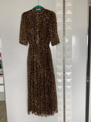 Chiffon jurk bruin-beige