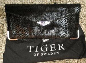 * TIGER OF SWEDEN * CLUTCH POCHETTE  Leder Wildleder Reptilprägung schwarz