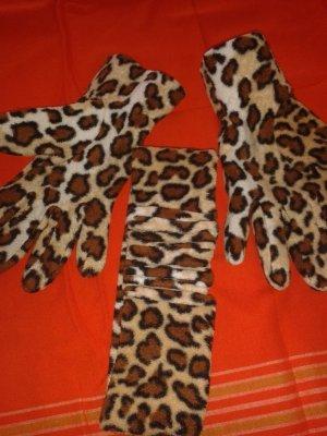 Tigerhandschuhe und passendes Stirnband Strecht Materialmix aus Viscose