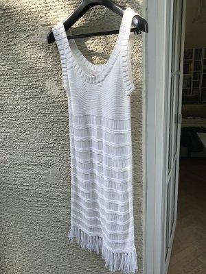 Tigerlilly weißes Beachkleid mit Fransen und durchsichtigem Häkelstil