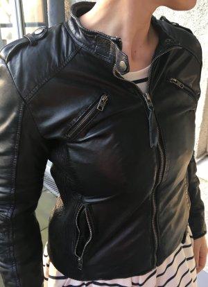 Tigha Damen Lederjacke, schwarz, Größe M
