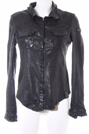 Tigha Leather Shirt black embroidered lettering biker look