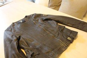 Tigha Veste en cuir brun noir cuir
