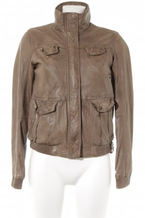 Tigha Leather Jacket light brown casual look