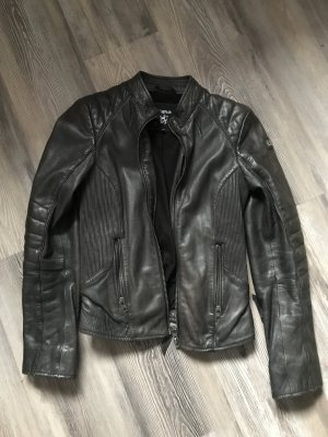 Tigha Lederjacke schwarz grau