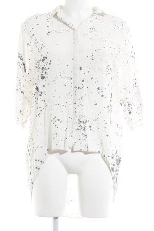 Tigha Oversized Bluse wollweiß-grau Farbtupfermuster Business-Look