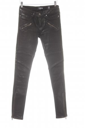 Tigha Skinny Jeans schwarz Biker-Look