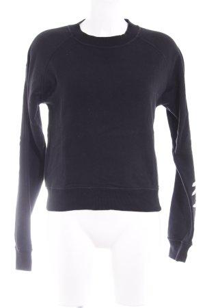 Tigha Sweatshirt schwarz-weiß Schriftzug gedruckt Skater-Look