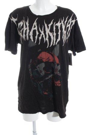 Tigha T-Shirt Schriftzug gedruckt Punk-Look