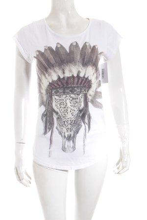 Tigha T-Shirt weiß-schwarz Motivdruck Casual-Look