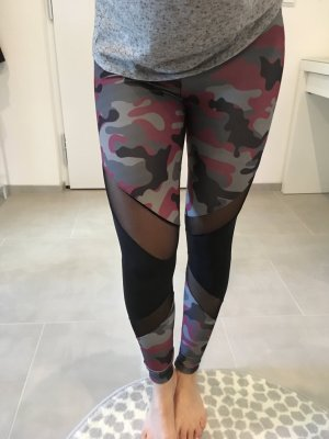 Tight Sport Hose gym Fashion xs Army Hose Blogger schwarz rot cut out 34